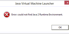 Could not find Java 2 Runtime Environment